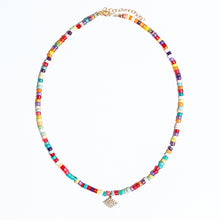 Load image into Gallery viewer, Diamond Evil Eye Charm On Multi Color Beaded Necklace