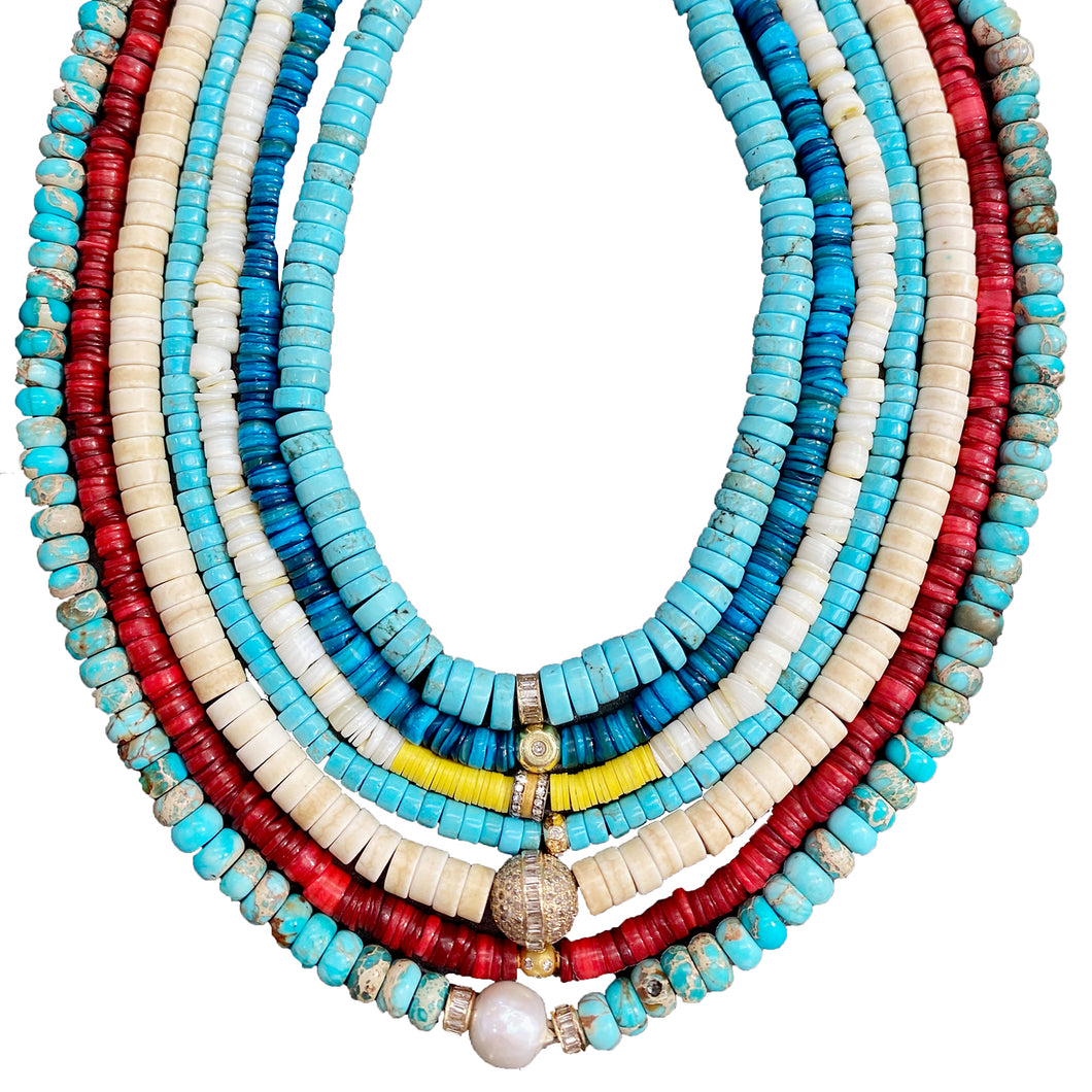 Turquoise Beaded Necklace With 14Kt Gold + Diamond Baguette Rondel