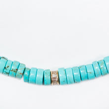 Load image into Gallery viewer, Turquoise Beaded Necklace With 14Kt Gold + Diamond Baguette Rondel