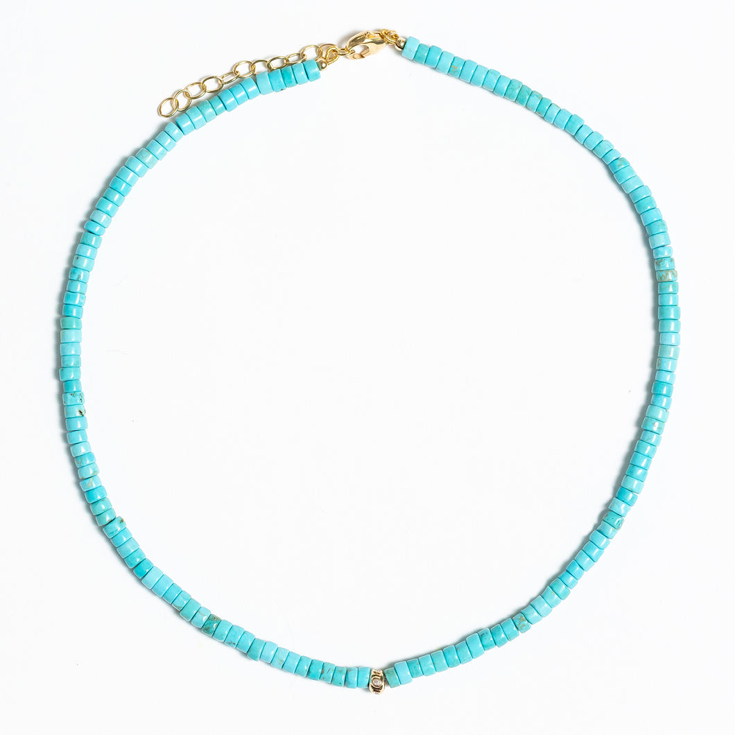 Turquoise Beaded Necklace With 14Kt Gold + Diamond Rondel