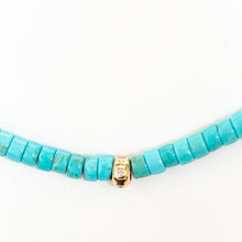 Load image into Gallery viewer, Turquoise Beaded Necklace With 14Kt Gold + Diamond Rondel