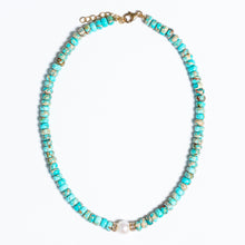Load image into Gallery viewer, Turquoise Beaded Necklace With Baroque Pearl, 14Kt Gold + Diamond Baguette Rondel