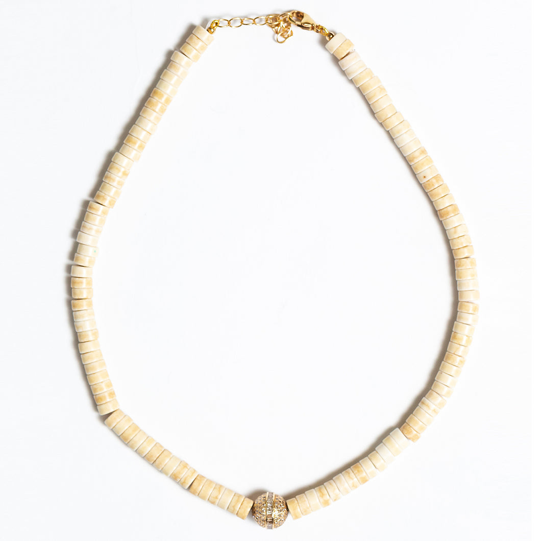 White Turquoise Beaded Necklace With 14Kt Gold + Diamond Rondel