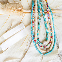 Load image into Gallery viewer, White Turquoise Beaded Necklace With 14Kt Gold + Diamond Rondel