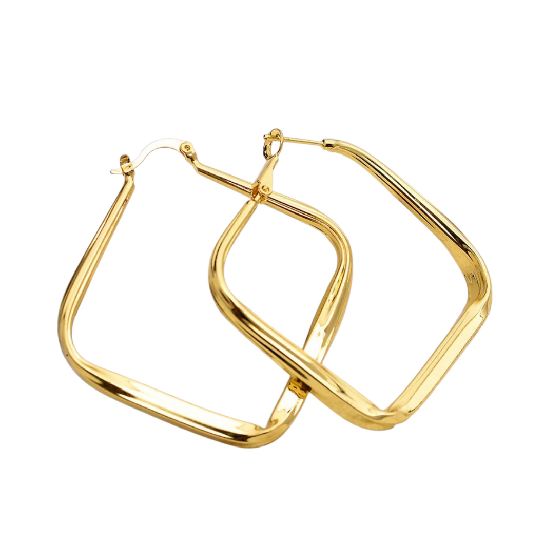 Square Shaped Hoop Earrings