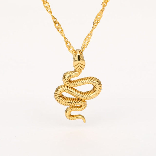 Stainless Steel Snake Necklace (6601475588268)