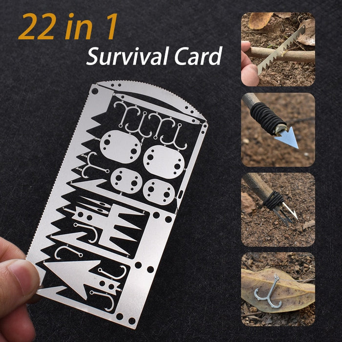 22 in 1 Fishing Gear Hook Card  Multifunctional Tool For Survival