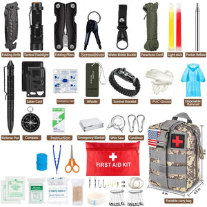 Emergency Survival Kit 100 in 1 Professional Survival Gear Hunting Tool First Aid Kit SOS with Molle Pouch for Camping Adventure