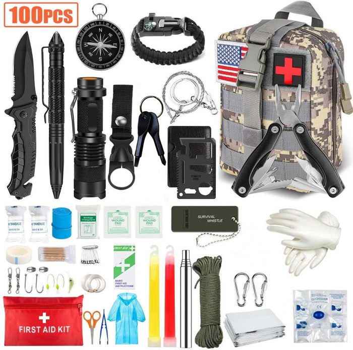 Emergency Survival Kit 100 in 1 Hunting Tool First Aid SOS with Molle Pouch Survival