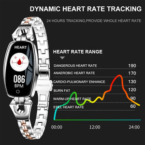 "SCOMAS Fashion Women Smart Watch 0.96"" OLED Heart Rate Blood Pressure Monitor Pedometer Fitness Tracker Waterproof Smartwatch"