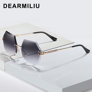 DEARMILIU Brand Designer Round Sunglasses Women Oversized Polygon 2020 Gradient Brown Pink Rimless sun glasses For female UV400
