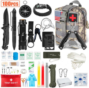 100PCS Emergency Survival Kit and First Aid Kit, Professional Survival Gear Hunting Tool with Tactical Molle Pouch and Emergency