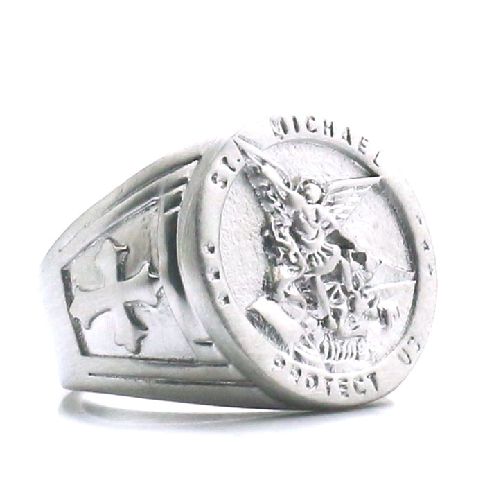 St Michael Protects Us Ring, 316L, New Tech, Unisex
