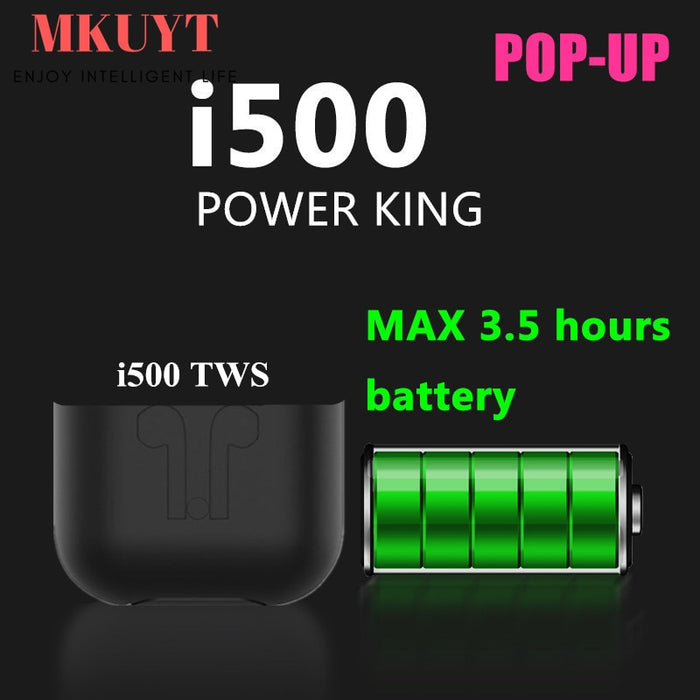 MKUYT I500 TWS Portable Wireless Bluetooth Earphones Touch Control Headsets Stereo Earbuds with Qi Wireless Charger Box