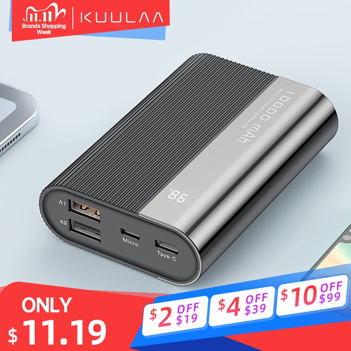 KUULAA Power Bank 10000mAh QC PD 3.0 PoverBank Fast Charging PowerBank 10000 mAh USB Mini External Battery Charger For Xiaomi