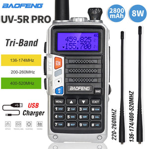 2020 Baofeng UV-5R Pro Walkie Talkie Tri-Band Two Way Radio 8W High Power Portable CB Ham Radio HF FM Upgraded