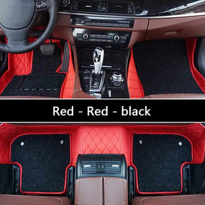 Wire car floor mat For Toyota camry land cruiser 100 200 Prado 150 Leather Automotive interior Double layer Carpet protect mat