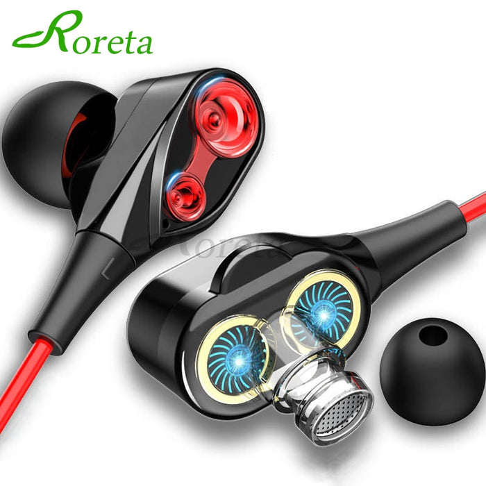 Roreta Dual Drive Stereo Wired earphone In-Ear Sport Headset With Mic mini Earbuds Earphones For iPhone Samsung Huawei Xiaomi