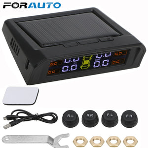 USB or Solar Charging Car TPMS Tire Pressure Monitoring System HD Digital LCD Display Auto Alarm tool Wireless 4 external Sensor