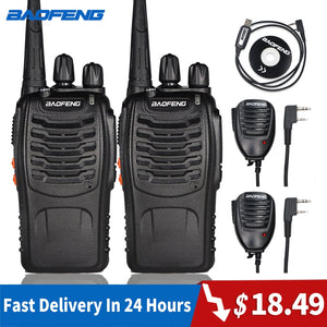 2pcs Baofeng 888S Walkie Talkie 6KM Portable Ham Radio BF-888S Two Way Radio FM Transceiver bf888S 5W UHF
