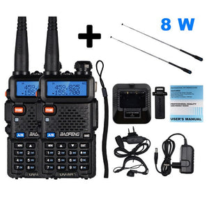 2pcs Real 8W Baofeng uv-5r Walkie Talkie High Power Portable CB Radio UV5R Dual Band VHF/UHF FM Transceiver