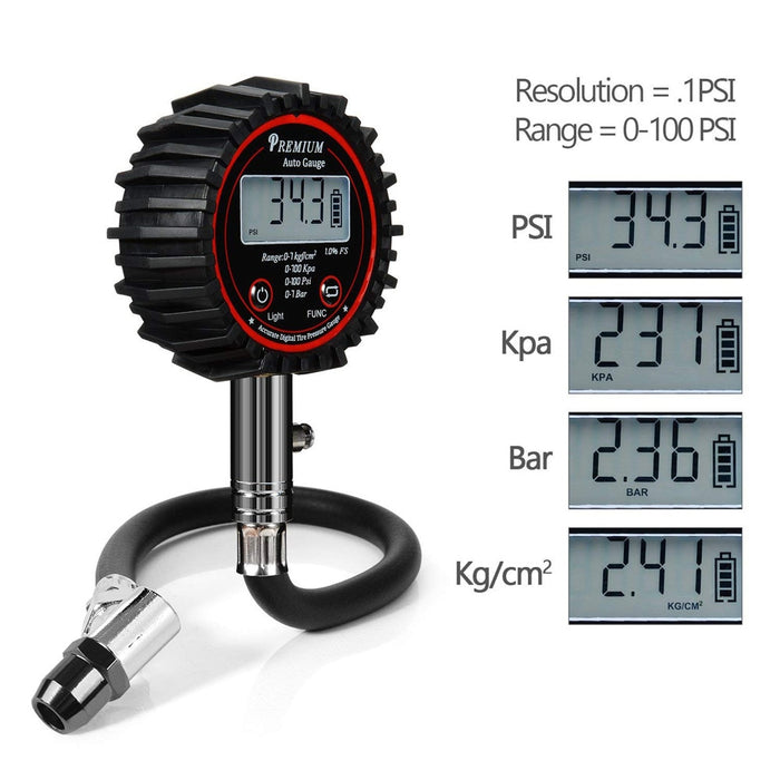 100PSI LCD Digital Automotive Tire Air Pressure Gauge Meter Air Pressure