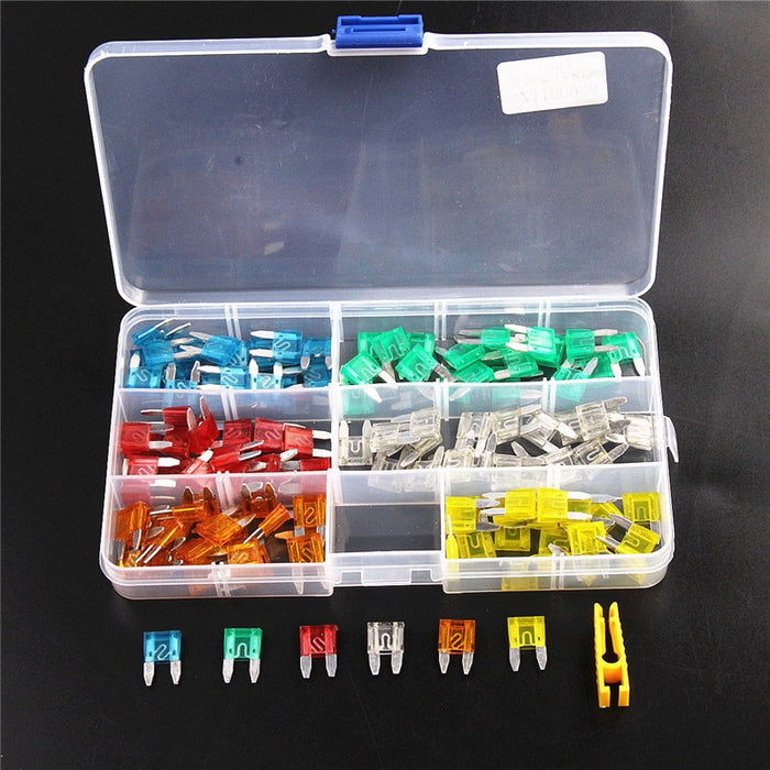 120Pcs Profile Mini Small Size Blade Car Fuse Assortment Set 5/10/15/20/25/30A Fuse with Plastic Box