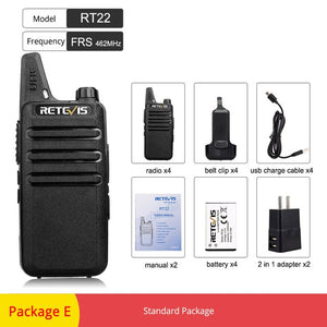 RETEVIS RT22 RT622 Rechargeable Walkie Talkie 4pcs PMR Radio PMR446 VOX Two Way Radio Portable Walkie-talkies Hotel Restaurant