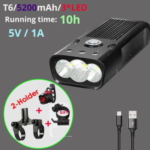 20000 Lumens LED Bicycle Light L2/T6 USB Rechargeable 5200mAh Bike Light Waterproof Solar