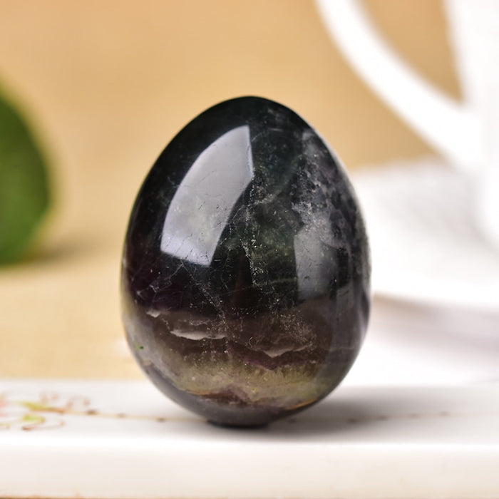 Natural Fluorite Quartz Crystal Egg Shaped Healing Stone Chakra Spirit Crystal Point Home Decoration Gem Crafts