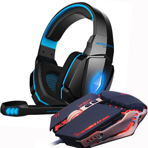 Gaming Headset and Gaming Mouse 4000 DPI Adjustable Stereo Gamer Earphone Headphones + Gamer Mice LED Light Optical USB Wired