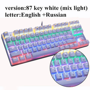 Metoo  Edition Mechanical Keyboard 87 keys Blue Switch Gaming Keyboards for Tablet Desktop  Russian sticker