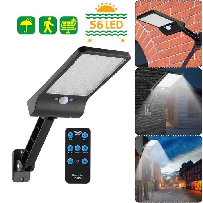 56LED Solar Motion Sensor Wall Light Outdoor Street Lamp with Remote Control Waterproof