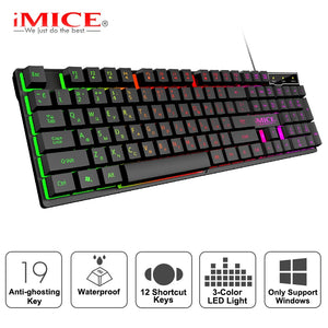 Gaming keyboard Gamer keyboard with backlight USB 104 Rubber keycaps RGB Wired Ergonomic Russian keyboard For PC laptop Computer