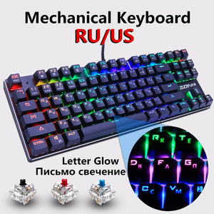 Gaming Mechanical Keyboard Blue Red Switch 87key RU/US Wired Keyboard Anti-ghosting RGB/ Mix Backlit LED USB For Gamer PC Laptop Computer