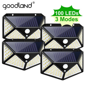 Goodland 100 LED Solar Light Outdoor Solar Lamp Powered Sunlight Waterproof PIR Motion Sensor Street Light for Garden Decoration