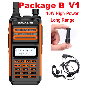 BaoFeng Walkie Talkie 10W 30km long range BF S5 Plus two way radio  VHF UHF portable ham CB radio ip67 Waterproof walkie talkie