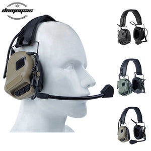 Tactical Headsets Military Standard Shooting Earmuff use with PTT Walkie Talkie Radio Airsoft Tactical Headset