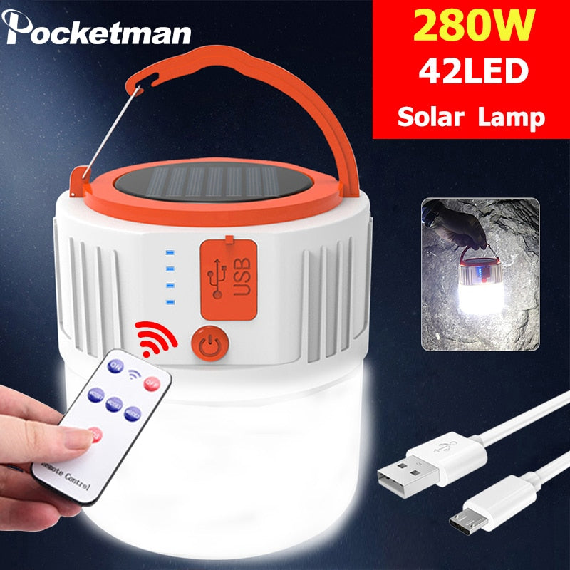 outdoor Solar lamp solar bulb light remote control 280W 42 led night market light mobile outdoor camping emergency lamp