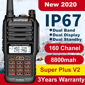 160 CH Baofeng Walkie Talkie UV 9R Plus 50km IP67 Waterproof