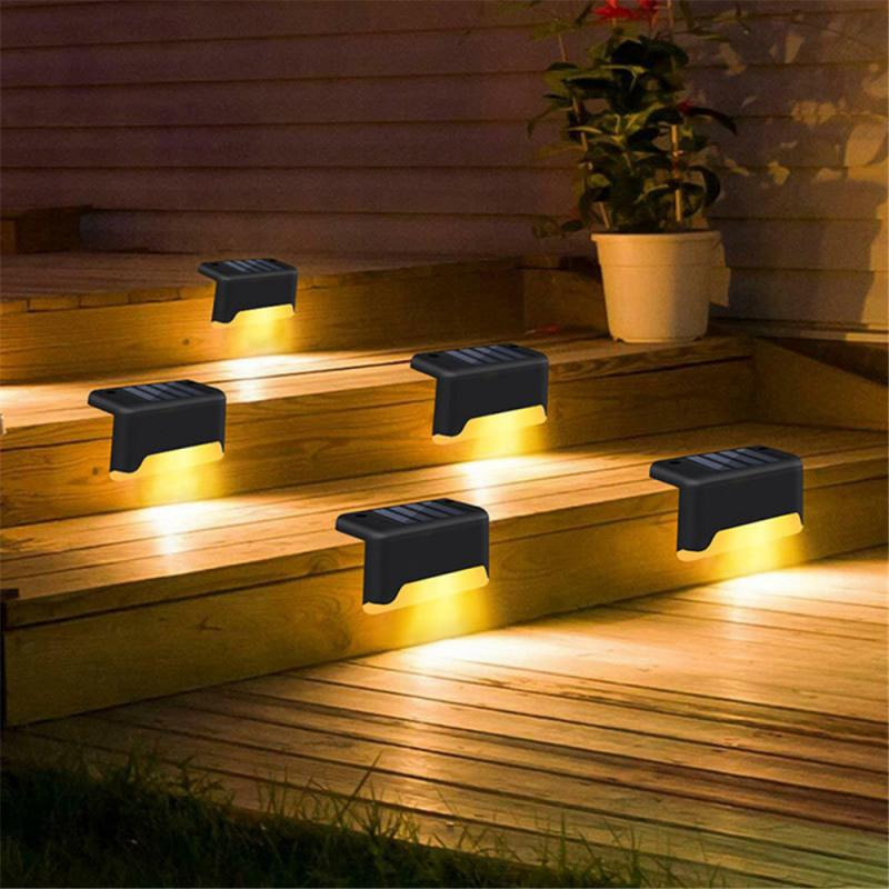 4/8X Solar Powered Fence Deck Lights Wall Stairs LED Outdoor Garden Lamp Solar Stair Light Waterproof Step Light Landscape Light