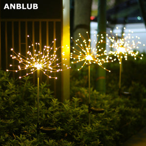 1pcs Outdoor LED Solar Fireworks Lights 90/150 LEDs Waterproof String Light Christmas Decoration