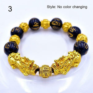 Unisex Obsidian Stone Beads Bracelets Chinese FengShui Pixiu Color Changing Wristband Wealth Good Luck Bracelet Men Women Chain