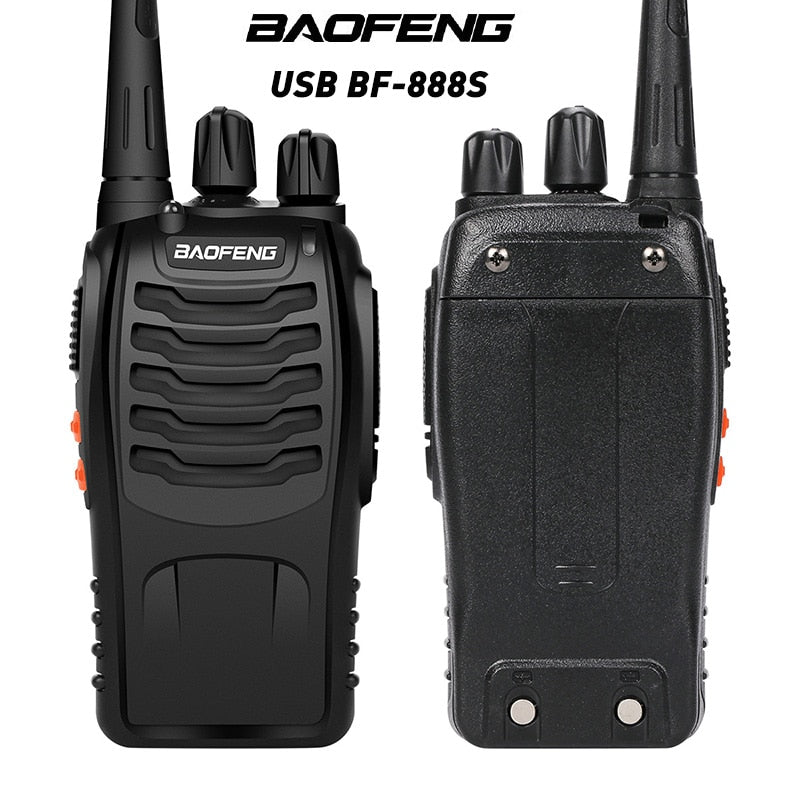 BaoFeng 1/2pcs BF-888S Walkie Talkie USB charge adapter UHF 400-470MHZ 2-Way Radio 16CH Long Range with earphone
