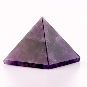 Assorted 40mm Pyramid Black Obsidian Fluorite Pink Quartz Carved Natural Stone