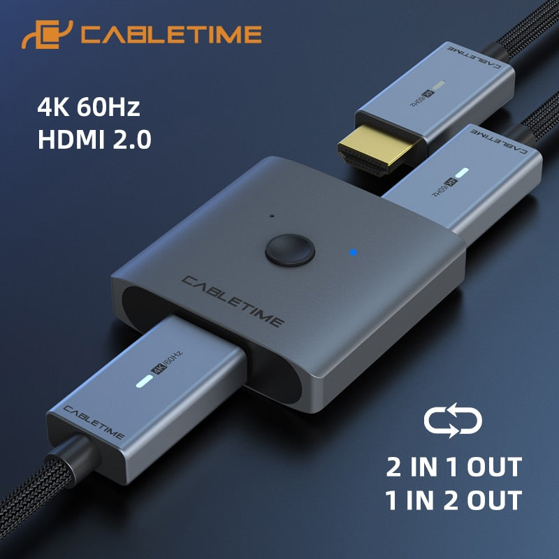 CABLETIME HDMI Splitter 4K 60Hz 1x2/2x1 Adapter HDMI Switcher 2 in 1 Converter for latop Macbook Air HDTV PS4 HDMI Switch C355 Computer