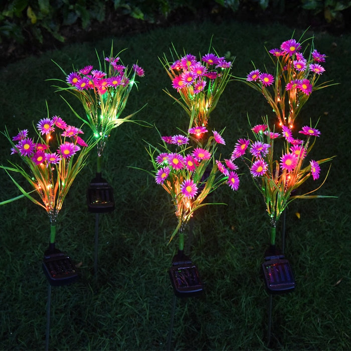 Garden Decoration Led Solar Chrysanthemum Lamp Outdoor Colorful Light Solar Small Wild Flower Landscape Courtyard Lawn Lamp