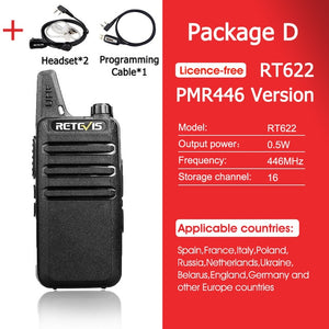 RETEVIS RT622 Walkie Talkie 2 pcs PMR446 PMR License-free Portable Walkie-talkies 2 pcs VOX Mini Two Way Radio Station FRS RT22