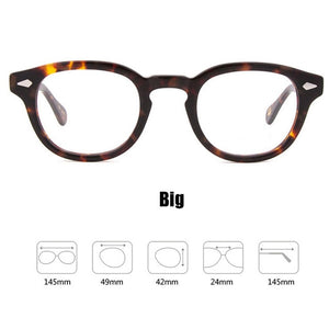 Johnny Depp Glasses Men Women Computer Goggles Round Transparent Eyeglass Brand Design Acetate Style Vintage Frame sq004