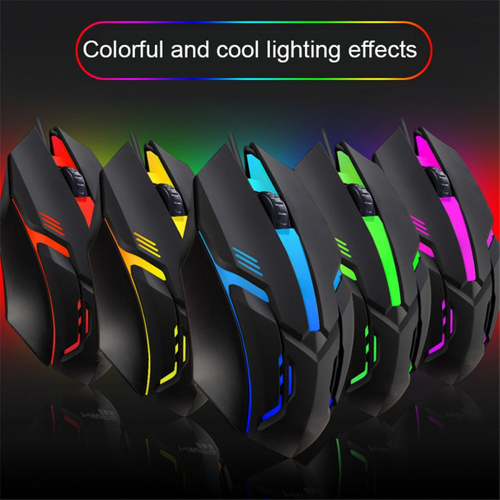 S1 Gaming Mouse 7 Colors LED Backlight Ergonomics USB Wired Gamer Mouse Flank Cable Optical Mice Gaming Mouse For Laptop Mice PC